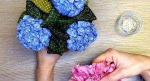 Proyecto de patchwork de flores hortensias
