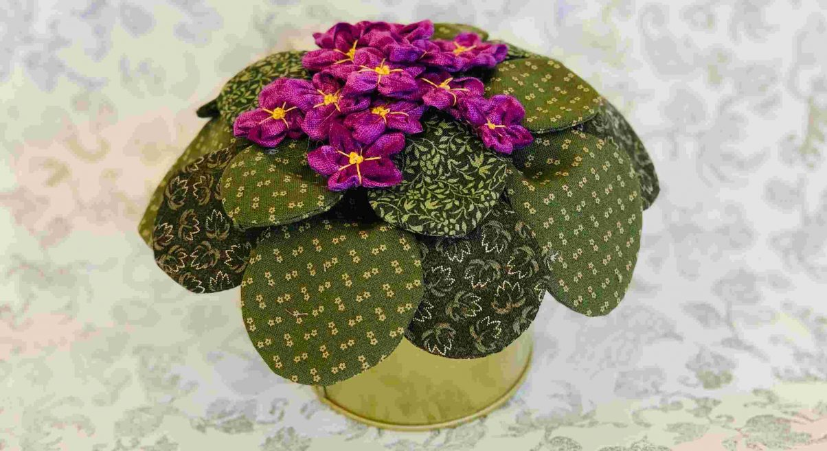 African Violets Fabric Bouquet