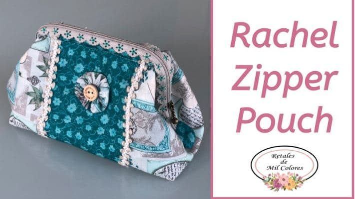 Fancy Stitched Quilted Zipper Pouch «Rachel»